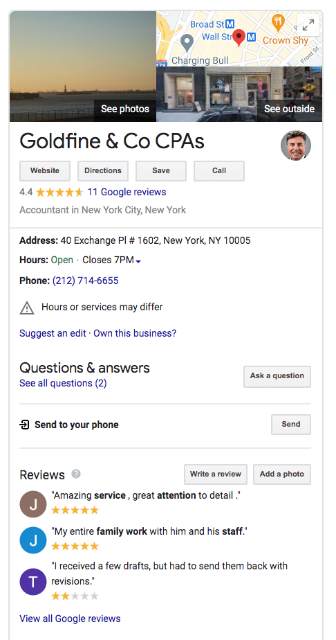 Google My Business page for accounting firm